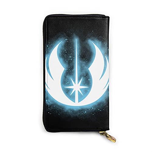 Star The Wars - Cartera de piel auténtica con cremallera para tarjetas, organizador y bolsa de embrague