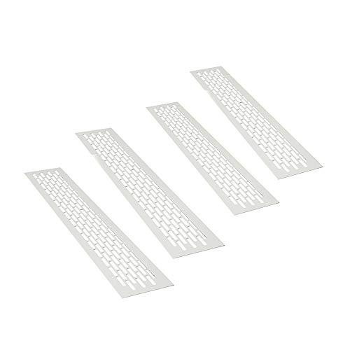 sossai® Rejillas de ventilación de aluminio - Alucratis (4 piezas) | Rectangular - dimensiones: 48 x 8 cm | Color: blanco | rejilla de aire