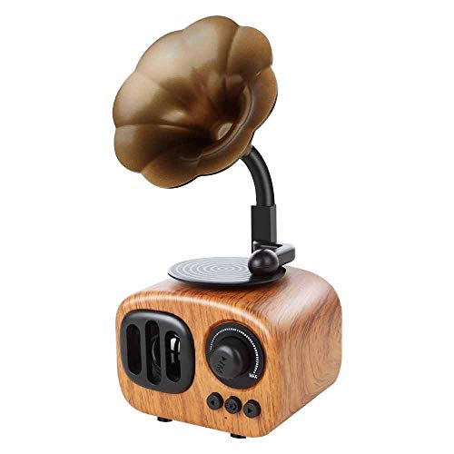Muziekdoos Retro Stijl Trompet Speaker Wireless Stereo subwoofer Music Box Houten luidsprekers met Mic Fm Radio Tf TONGDAUR (Color : Light Wood Grain, Size : Free)