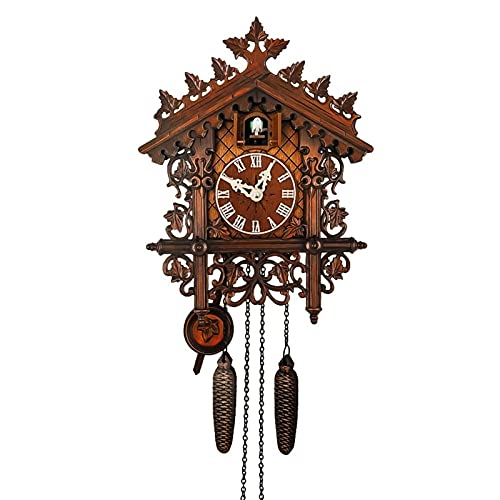 Clásico Alemán Black Forest Style Cuckool Reloj Nordic Retro estilo de madera Cuckool Reloj de pared para la sala de estar Decoración Vintage madera interior reloj de pared con péndulo de balanceo
