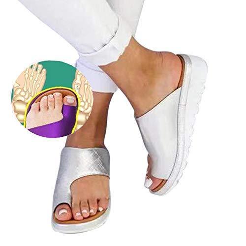 XSMG Damen Lässige Plateausandalen Korrektur Zehen Schuhe Bunion Zehenkorrektur Sandalen Orthopädische Hausschuhe,G,38