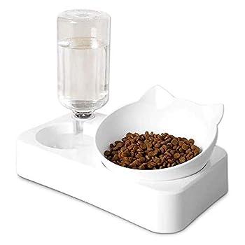 WIKEA Pet Dog Cats Bowl Feeder Bowl Alimentaire Abreuvoir Distributeur, Bol de Chat Bol de Chien, Bol Double pour Chat, Distributeur d'eau Automatique