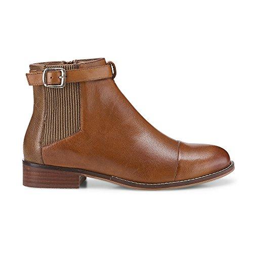 Cox Damen Chelsea-Boots in Braun aus Nappa Leder, Stiefelette mit Schnalle Braun Leder 38