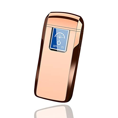 Windproof Lighter Dual Arc Plasma Lighter Touchscreen Electronic Lighter Rechargeable Usb,Countable Ignition Times,With LED Battery Indicator,Gift Box,Flameless Cigarette Ignition For Cigar(Rose Gold)