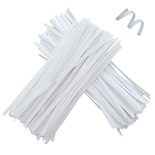 1500 Pcs 4.7 Inches Kraft Paper Twist Ties, White Bendable Reusable Bread Ties for Packaging Bag Valentines Gift Electronics Cords