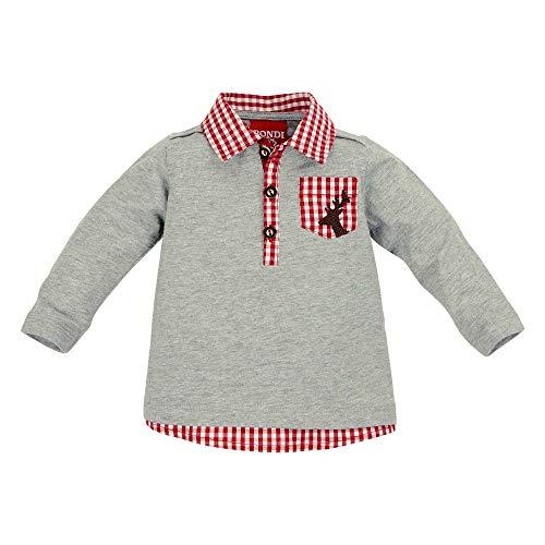 BONDI BONDI Poloshirt Langarm, Grey-Melange 74 Tracht Baby Jungs Artikel-Nr.91124