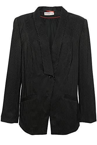 Sheego Blazer Gehrock Jacke Damen Nadelstreifen Viskose Plusgröße, Farbe:schwarz, Damengrößen:46