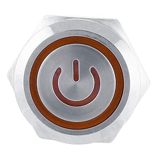 Interruptor de Botón Táctil Táctil de 2 Piezas 220 V 6 Pines, Interruptor Impermeable Ip65 de 22 Mm, Componentes Electrónicos Para Entusiastas del Bricolaje Uso Industrial(Naranja)