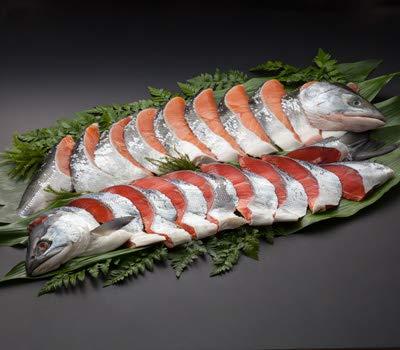 【海鮮市場 北のグルメ】塩紅鮭・塩時鮭 半身各800g前後 (1切真空包装・姿戻し)※限定200本※
