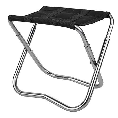 MAGT Taburete Plegable, Taburete Plegable Ligero de aleación de Aluminio Asientos Plegables duraderos portátiles para Pesca Camping(Negro)