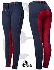 Astile Amour - Pantalones de equitación para Mujer, Color Azul Marino y Rojo
