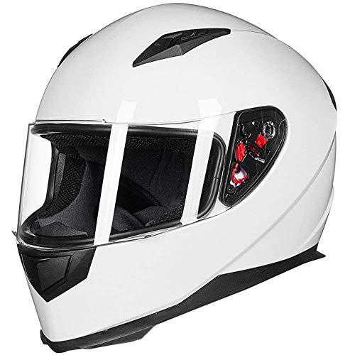 ILM Full Face Motorcycle Street Bike Helmet with Removable Winter Neck Scarf + 2 Visors DOT (S, White)