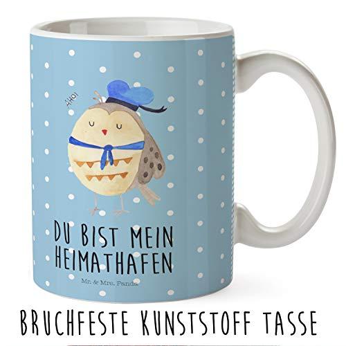 Mr. & Mrs. Panda Kindergarten, Kaffeetasse, Kindertasse Eule Matrosen mit Spruch - Farbe Blau Pastell