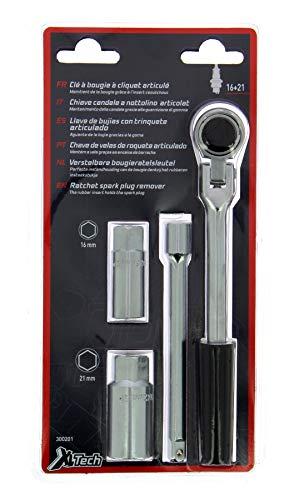 XL TECH 300201 kit clé à bougie allumage à cliquet articulé + douilles 16mm et 21mm + rallonge