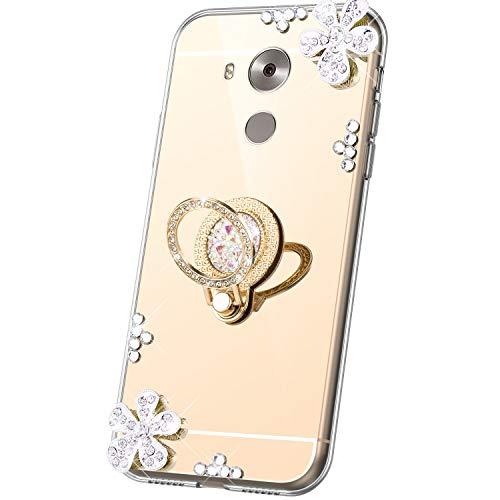 JAWSEU Compatible avec Coque Huawei Mate 8 Miroir Paillette Glitter Strass Fleur Silicone Gel TPU Etui Housse de Protection avec Diamant Support de Bague Antichoc Bumper Case,Or