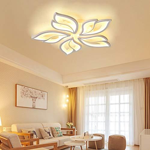 Luminaire LED Dimmable Plafonnier Chambre Salon Lampe avec Télécommande Moderne Forme de fleur Design Lustre Métal Acrylique Plafond Lampe pour Table Salle à Manger Cuisine Bureau Suspension Lumiere