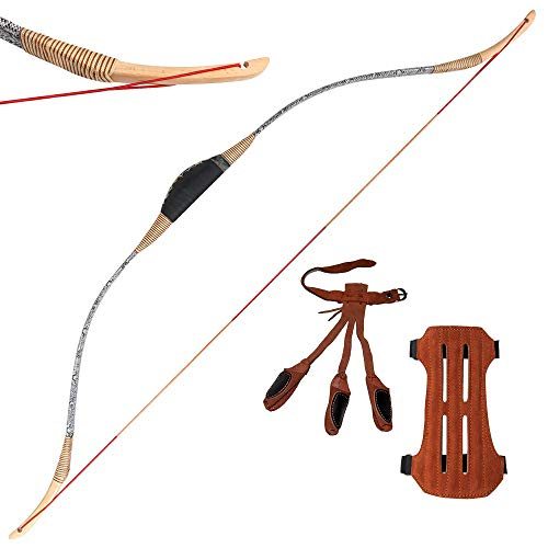 TOPARCHERY 46'' Archery Traditional Recurve Bow 30-50 lbs Hunting Handmade Horse Bow Longbow Wood Bows with Arm Guard Finger Gloves (50)