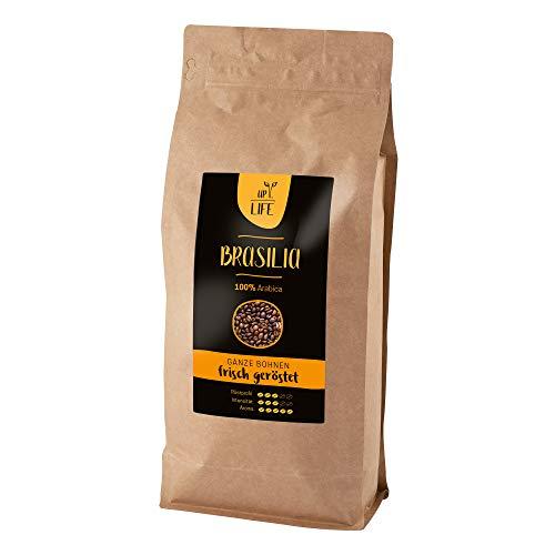 LIFE UP Brasilia Ganze Kaffeebohnen 100% Arabica intensiv vollmundig und ausgewogen, mild Röstgrad ür Vollautomaten Siebträgermaschine oder Espressokocher 1kg
