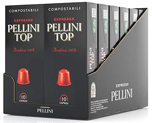 Pellini Caffè Top Arabica 100%, Capsule Compatibili Nespresso, COMPOSTABILI e Autoprotette, 12 Astucci da 10 Capsule, Totale 120 Capsule