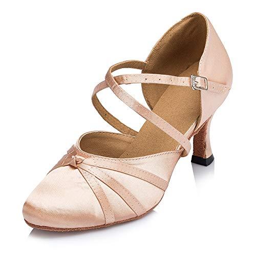 HROYL Zapatos de Baile Latino para Mujer Tacon Alto Zapatos de Tango Salsa Samba Vals Baile de Salón,117-5,Beige,EU40.5