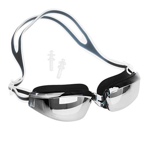 perfeclan Gafas de Natación Impermeables para Hombres Y Mujeres Gafas de Natación Sin Fugas Marco de Silicona - Negro