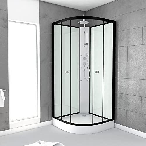 AURLANE CAB87B Cabina de ducha, negro/transparente
