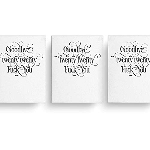 Funny New Years Card Goodbye 2020, Fk You, Hand Lettered Design, Blank Inside, Belated Holiday Card, Handmade in the USA, Folded (22)