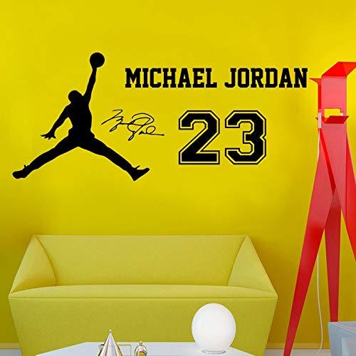 Deportes de baloncesto NBA Legend Player Michael Jordan Signature # 23 Adhesivo de pared Vinilo Calcomanía para niños Fans Dormitorio Sala de estar Club Decoración para el hogar Mural