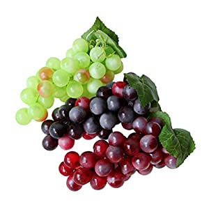 3PCS Artificial Grapes Decorative Fake Grapes Simulation Fruits Table Decoration Fruits Hanging Ornaments Photography Props