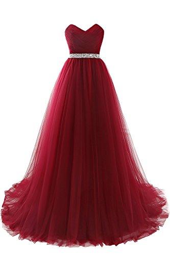 2020 Damen elegant Abendkleid Tüll A-Linie Cocktailkleid Ballkleid Hochzeitskleid Büstier Weinrotes Kleid 38