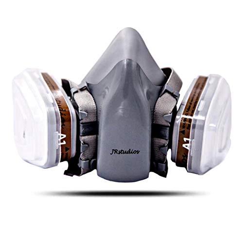 JRstudios™ - Maschera Antigas, Maschera Antipolvere, Maschera Verniciatura - Doppio Filtro Carbone Attivo -  Protezione Polveri Vernici Vapori Tossici