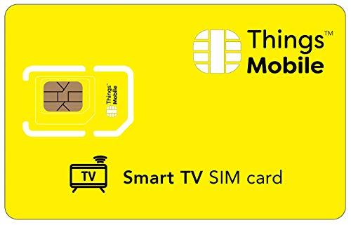 SIM-Karte für SMART-TV - Things Mobile - mit weltweiter Netzabdeckung und Mehrfachanbieternetz GSM/2G/3G/4G. Ohne Fixkosten und ohne Verfallsdatum. 10 € Guthaben inklusive