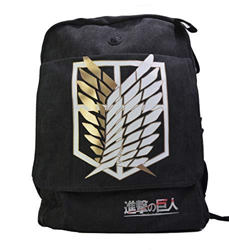 Anime Domain Mochila de Attack On Titan con Firmar de Scout Regiment  Color: negro