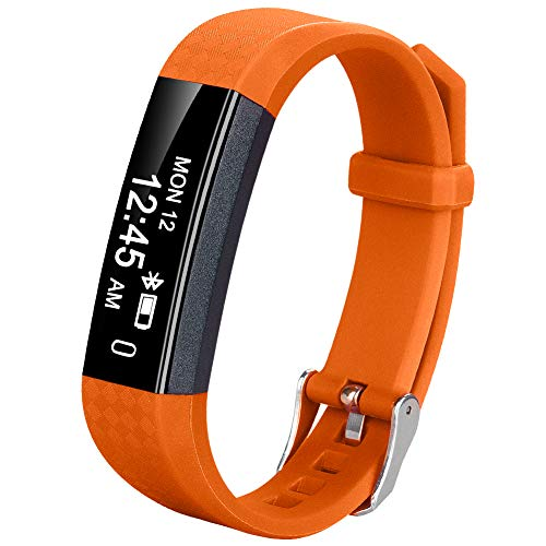 Coch Fitness Tracker, IP67 Waterproof Activity Tracker Watch,Sleep Monitor,Smart Fitness Band,Bluetooth Step Counter for Kids Women and Men(Orange