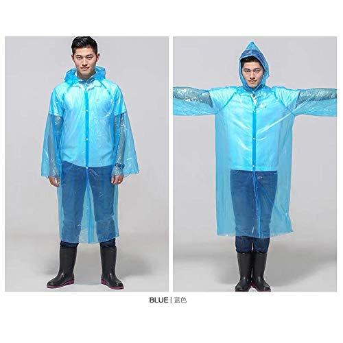 Transparante waterdichte regenjas voor volwassenen,Dikke regenjas voor volwassenen, transparante poncho voor buiten blauw_10,Poncho met capuchon voor kamperen, wandelen