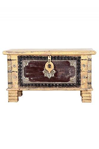 Orientalische Truhe Kiste aus Holz Chayma 80cm groß | Vintage Sitzbank mit Aufbewahrung für den Flur | Aufbewahrungsbox mit Deckel im Bad | Betttruhe als Kissenbox oder Deko im Schlafzimmer - 3