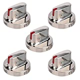5 Pack DG64-00472A DG64-00347A Burner Knobs Range Oven Dial Knob Stainless Steel Replacement for Samsung NX58F5300SS NX58F5500SS FX510BGS FX710BGS Gas Range Replace 3447604 AP5949480 PS10058981
