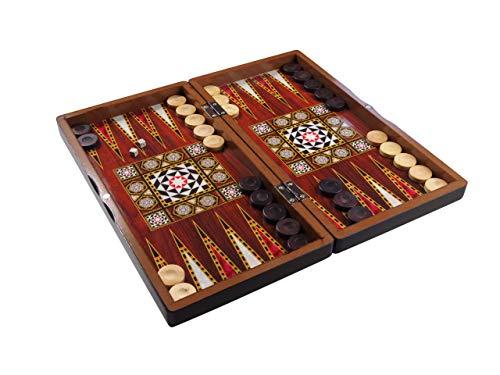 Orient-Feinkost 3in1 Brettspiel Intarsien Optik - Backgammon - TAVLA - Schach - Dame 39x42cm in Edelholzoptik mit SPIELSTEINE AUS BUCHSBAUM