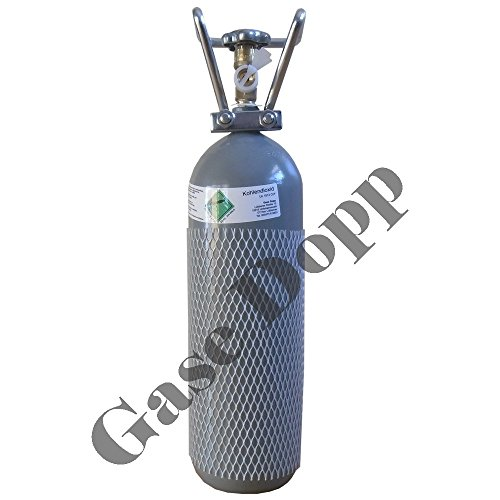 2 KG CO2 Flasche (TÜV 2028) kostenfreie Lieferung in max. 3 Werktagen (nur in BRD) gefüllt mit Lebensmittel CO2 Kohlendioxid (E290) von Gase Dopp - verchromter Ventilschutz (2KG CO2 Nachfüllung für 23,98 Euro inkl. Versand in BRD möglich!)