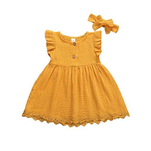 Vestido Verano Niña Bebé Vestido de Princesa Mangas de Mosca Dobladillo de Encajes Diadema de Lazo Vestido de Bautizo Conjunto de Dos Piezas para Niñas (Amarillo, 3-4 Años)