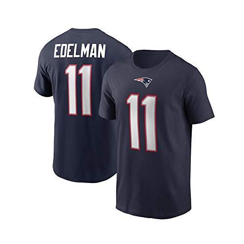 Rugby-Trikot Julian Edelman # 11 New England Patriots T-Shirt American-Football-Trikot, Unisex Sports Kurzarm-Sweatshirt Fitness Atmungsaktiv Wiederholbare Reinigung Navyblue-L