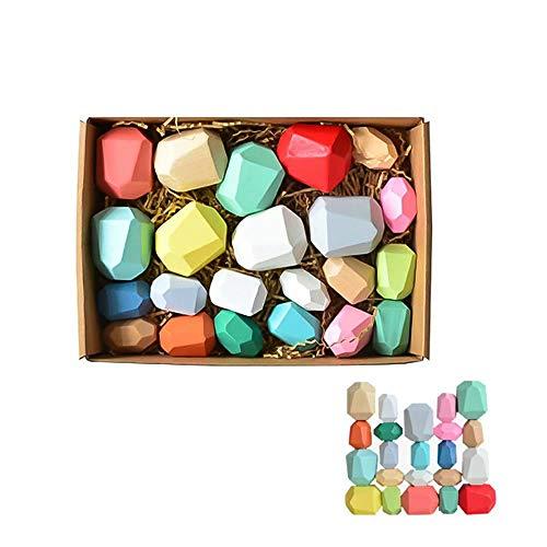 Lunaer Juego de Bloques de Equilibrio de Madera Bloques de construcción Naturales livianos Piedras de Madera de Colores Juguete Creativo Niños Regalo de niños