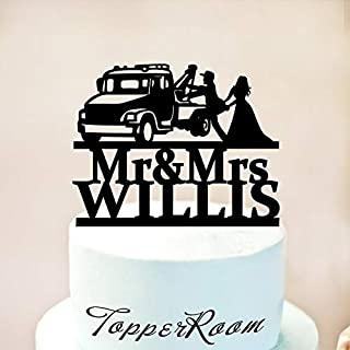 Tow truck Wedding Cake Topper,Driver Cake Topper