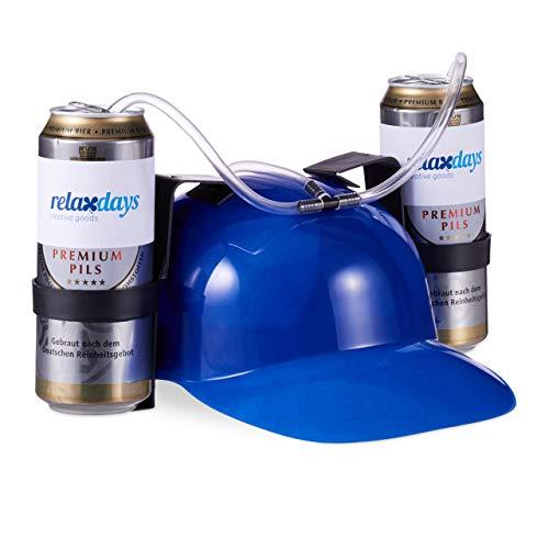 Relaxdays Gorra Cerveza para Dos Latas, color azul, 13 x 32 x 28 cm (10022789_45) , color/modelo surtido