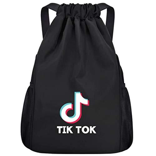 TIK Tok Bolsillo con cordón Mochila con cordón Mochila Deportiva al Aire Libre Viaje Entrenamiento Danza-Negro_L (34 * 17 * 46)