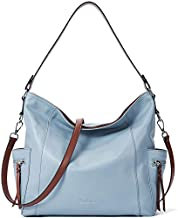 BOSTANTEN Genuine Leather Hobo Handbags Designer Shoulder Tote Purse Crossbody Large Bag for Women Light Blue