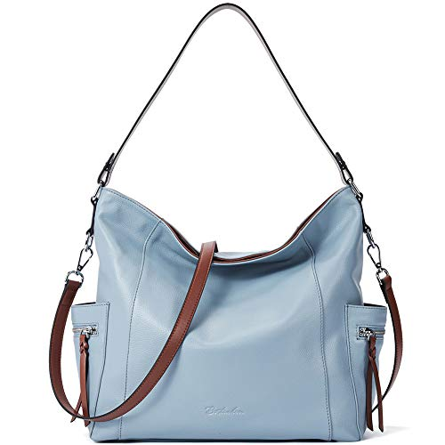 BOSTANTEN Genuine Leather Hobo Handbags Designer Shoulder Tote Purses Crossbody Large Bag for Women Light Blue