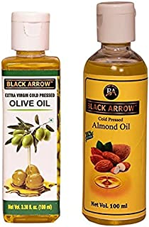 BLACK ARROW Combo 100 ML Extra Virgin Cold Pressed Olive Oil and 100 ML Cold Pressed Almond Oil for Skin