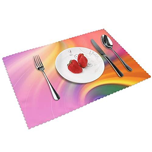 Juego de 4 manteles individuales con textura de acuarela para interiores y comedores, con aislamiento térmico, reutilizables, lavables (45,7 x 30,5 cm)