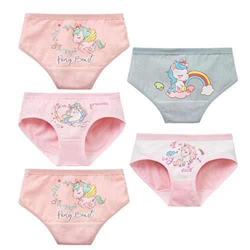 MiSense 5er Pack Mädchen Unterhosen Baumwolle Unterwäsche Maedchen Slips für 2-8 Jahre(2-3Jahre,G101-M)
